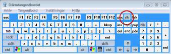 Skärmtangentbordet i Windows med tangenten Scroll Lock