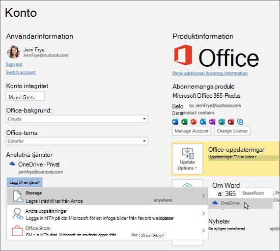 Fönstret Konto i Office-program med valet OneDrive-lagring för alternativet Lägg till en tjänst under Anslutna tjänster