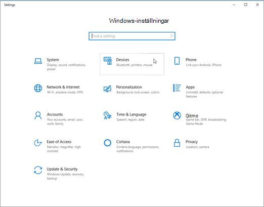 Windows enhets inställningar bild