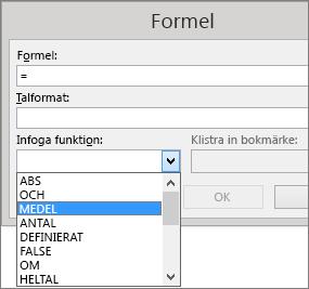 Klistra in-funktionerna i en formel visas i fliken Tabellverktygslayout.