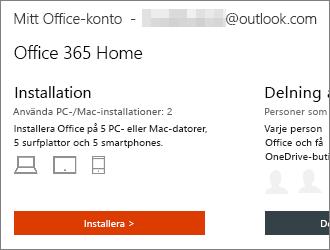 För Office 365-abonnemang väljer du Installera > på sidan Mitt Office-konto