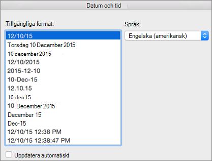 Dialogrutan Datum och tid