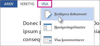 Bild av en del av Visa-menyn i Läsläge, med alternativet Redigera dokument markerat.