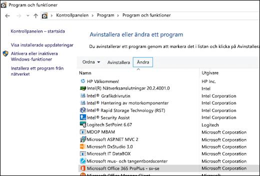 Klicka på Ändra i appleten Avinstallera program för att påbörja en reparation av Microsoft Office