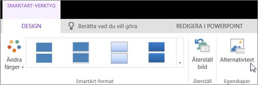 Skärmbild som visar fliken Design i SmartArt-verktyg med en markör som pekar på alternativet Alternativtext.