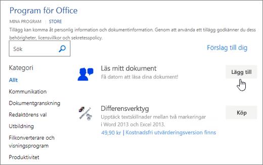 Skärmbild av sidan program för Office i butik där du kan välja eller söka efter ett program för Word.