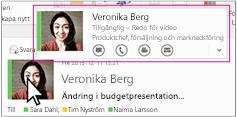 Snabbmeny för Outlook Skype för företag