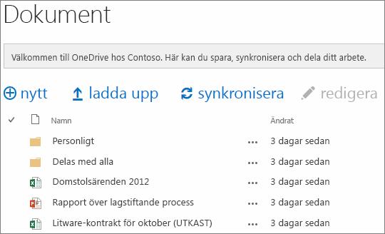 se OneDrive för företag-dokument