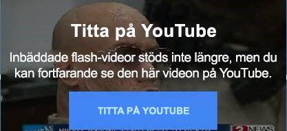 Det här YouTube-felmeddelandet anger ett det inte längre finns stöd för flash-inbäddade videor