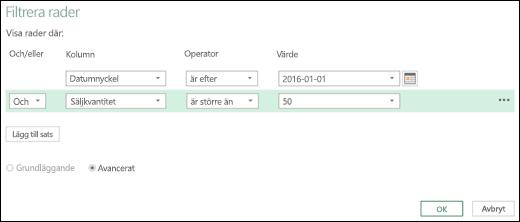 Excel Power BI – Dialogrutan Avancerad filtrering av rader i Frågeredigeraren