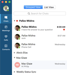 Skärmbild av grupperad vy i Skype för företag på Mac
