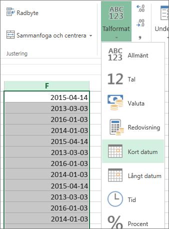ändra data till kort datumformat i menyfliksområdet