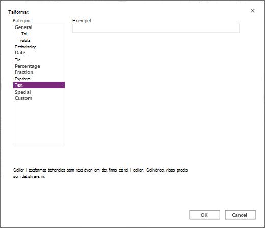 Skärmen för webb nummer format i Excel
