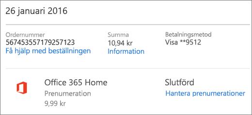 Ett exempel på sidan Orderhistorik med orderdetaljer för en prenumeration på Office 365 Home.