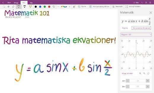 Göra diagram av matematiska ekvationer i OneNote för Windows 10