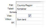 """Bild av frågedesigner med villkor som använder operatorer """"som jokertecken i"""""""