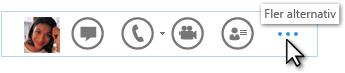 Skärmbild av Lync-snabbmenyn som visar Fler alternativ