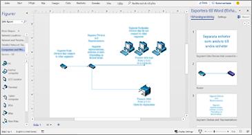 Processdokument i mitten och fönstret Exportera till Word till höger