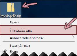 Högerklicka på komprimerade zip-filen om du vill extrahera en fil från den.