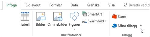 Skärmbild av en del av fliken Infoga i menyfliksområdet i Excel med en markör som pekar på min Lägg till modulerna väljer du Mina tillägg åt tillägg för Excel.