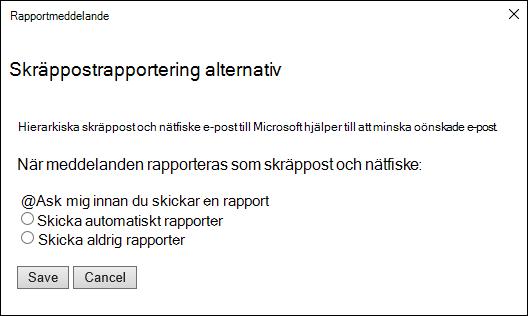 Skärmbild som visar alternativ för meddelanden som rapporteras som skräppost och nätfiske försök