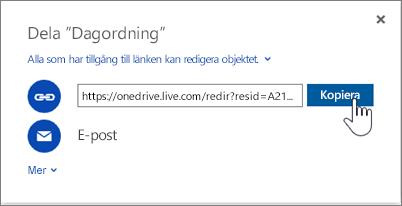 Skärmbild av Hämta en länk-alternativet i dialogrutan Dela på OneDrive