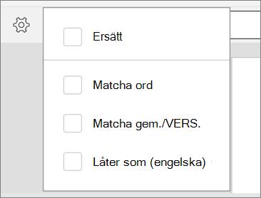 Visar Ersätt matcha ord, matcha gemener/versaler och låter som alternativ för Sök i Word för Android.