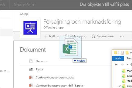 Dra en fil till ett SharePoint-dokumentbibliotek