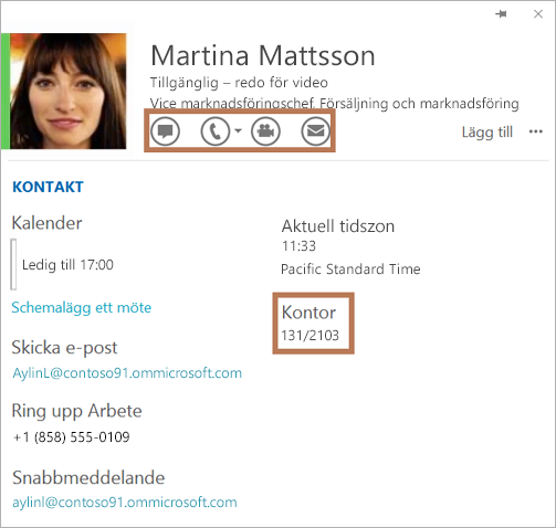 Kontaktkort för Skype för företag