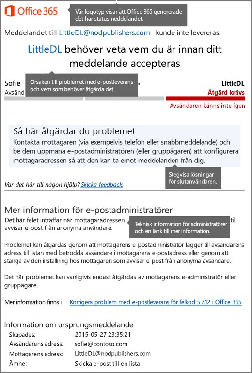 Senaste format för leveransstatusmeddelande (DSN) i Office 365