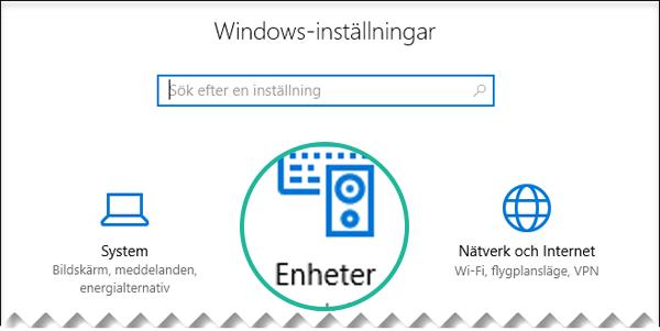 Välj Enheter i dialogrutan Windows-inställningar