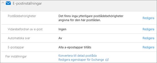 Skärmdump: Inställningar för Office 365-e-post