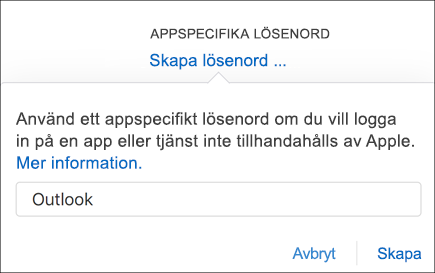 Ange ett namn på ditt applösenord