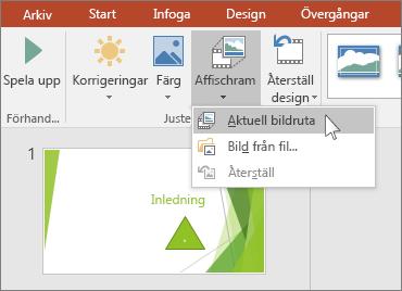 visar alternativet för affischram i PowerPoint