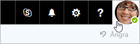 Skärmbild av en profilbild på menyraden i Office 365.