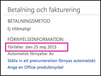 Information om prenumerationsförnyelse på kontosidan för Office 365.