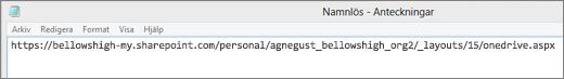 Klistra in webbadressen i ett program, till exempel Anteckningar.