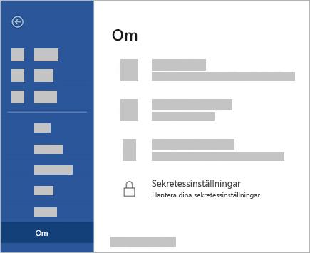 En skärmbild av knappen Inställningar.