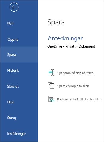 Spara filen