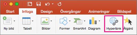 Visar fliken Infoga i PowerPoint 2016 för Mac