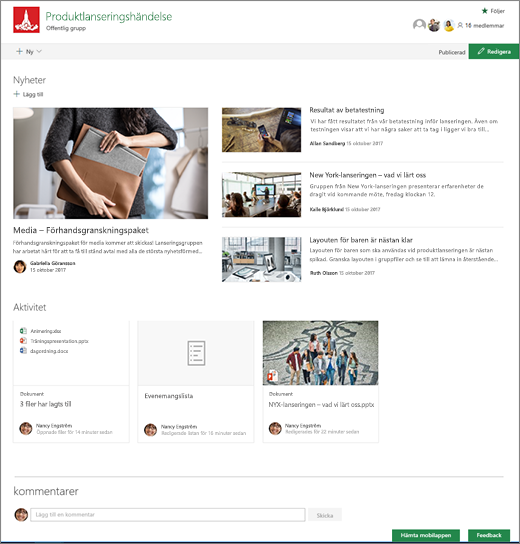 SharePoint-grupper webbplatsens startsida