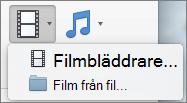 Skärmbilden visar webbläsaren film och film från fil tillgängliga alternativ i Video nedrullningsbar listruta. Välj ett alternativ för att infoga en film i en PowerPoint-presentation.