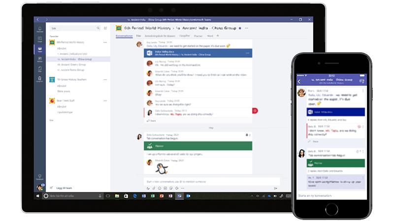 Surfplatta och telefon som visar Microsoft Teams
