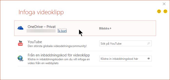 Dialogrutan Infoga videoklipp innehåller alternativ för YouTube, Facebook och OneDrive.