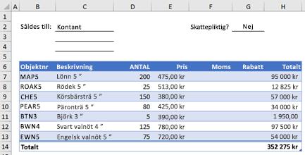 Exempel på orderformulär utan en anpassad funktion