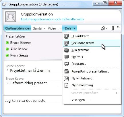 Microsoft Lync-fönstret med alternativ för att dela skärm