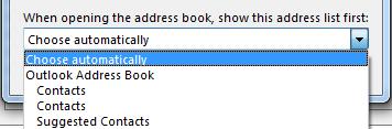 Du kan välja namnet på den adressbok som du vill komma åt först.