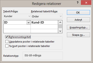 Redigera en befintlig relation mellan tabeller
