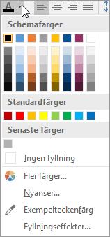 Teckenfärgpalett