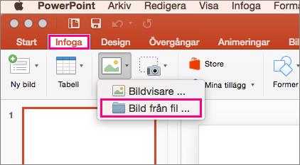 Visar Infoga > Bilder > kommandot Bild från fil i PowerPoint 2016 för Mac